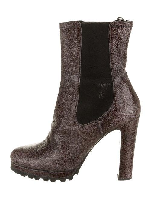 Prada Patent Leather Chelsea Boots Purple