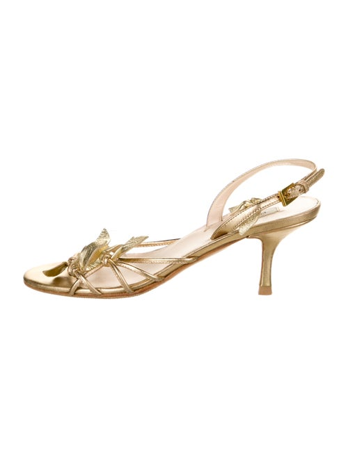 Prada Leather Slingback Sandals Gold