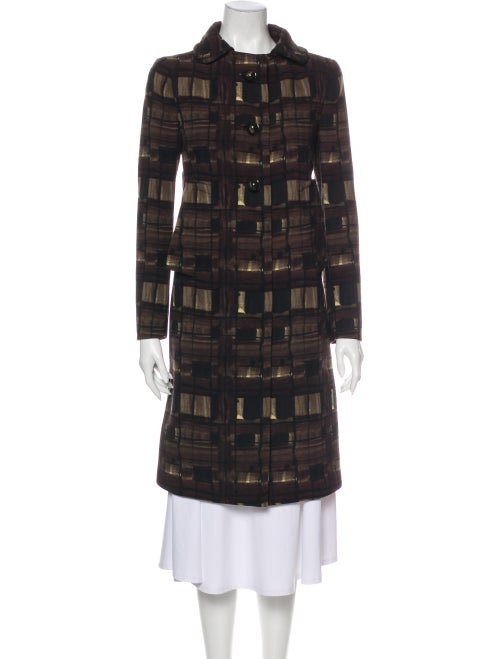 Prada Plaid Print Trench Coat Brown