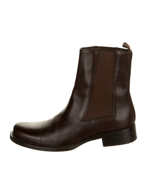 Prada Leather Chelsea Boots Brown