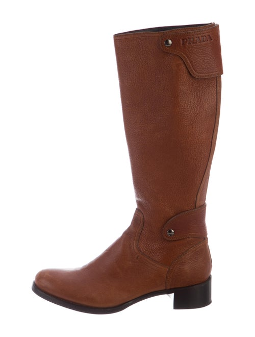Prada Leather Riding Boots Brown