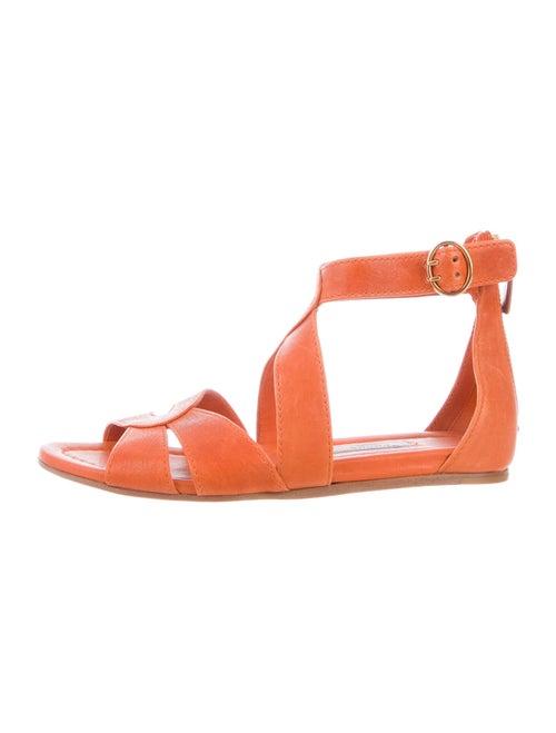 Prada Leather Gladiator Sandals Orange