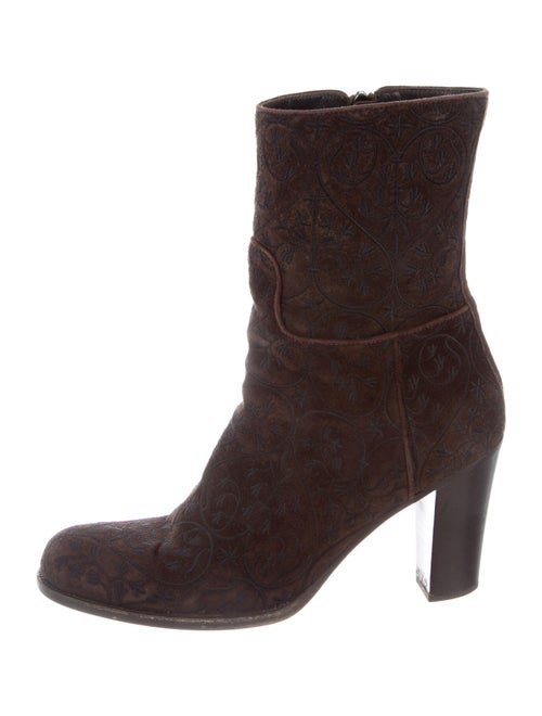 Prada Suede Embroidered Accent Boots Brown