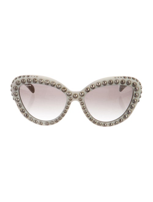 Prada Studded Cat-Eye Sunglasses silver