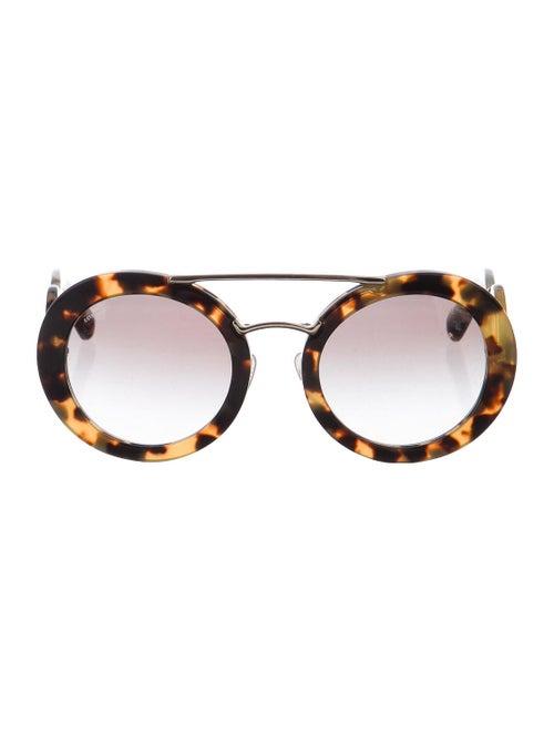 Prada Tortoiseshell Round Sunglasses Brown