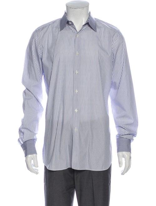 Prada Striped Long Sleeve Dress Shirt White