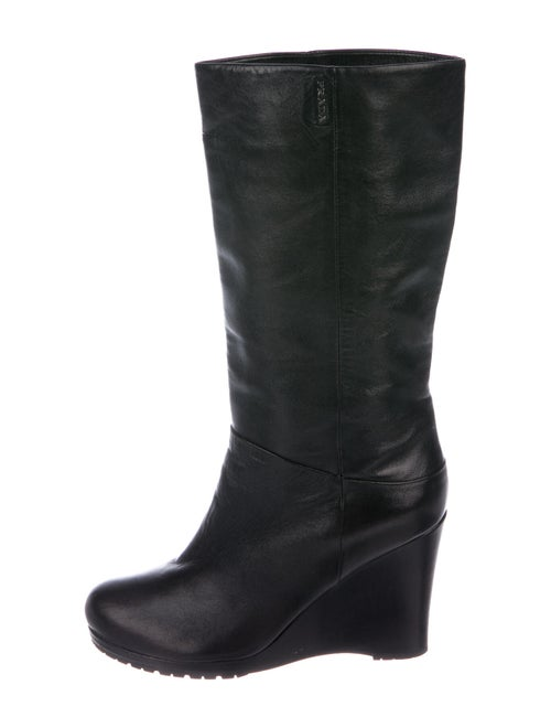 Prada Signature Logo Leather Boots Black