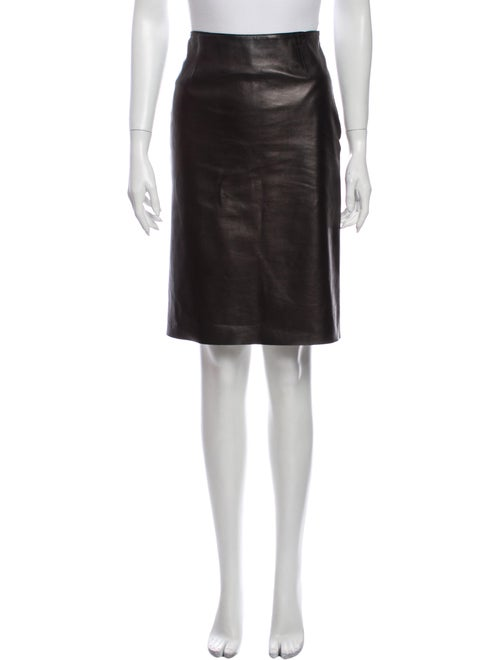 Prada Leather Knee-Length Skirt Black