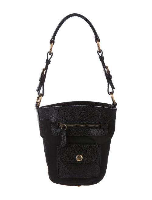 Prada Leather-Trimmed Tessuto Bucket Bag Black