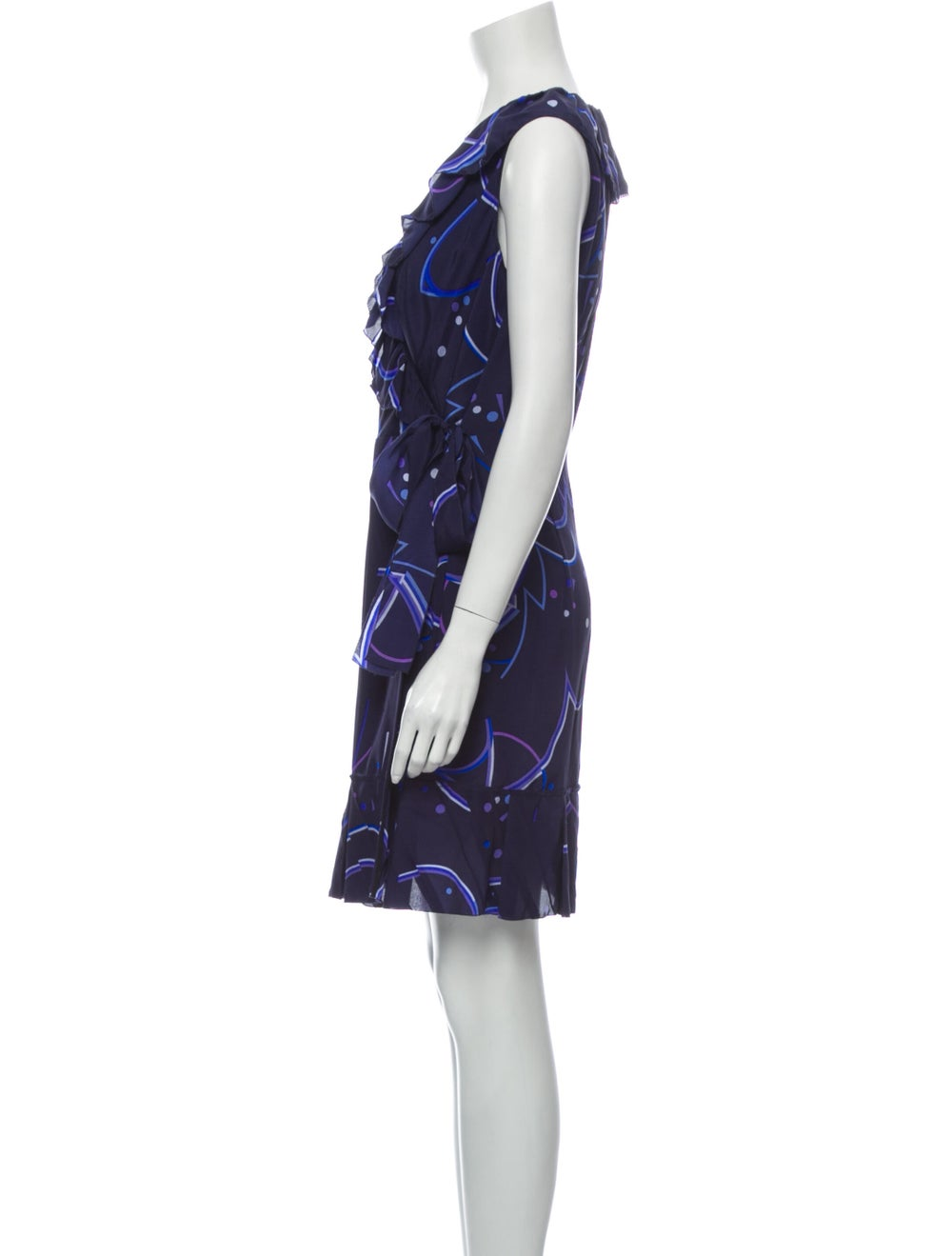 Prada Silk Mini Dress Blue - image 2