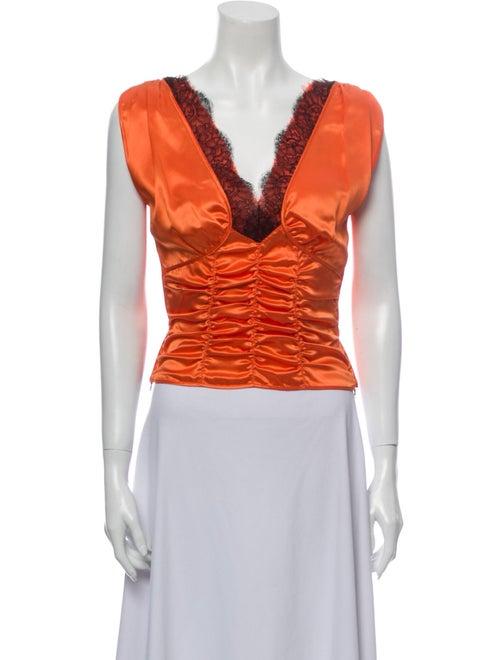 Prada Silk V-Neck Crop Top Orange