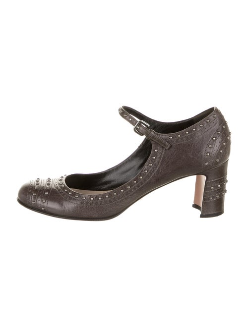 Prada Leather Studded Accents Pumps Grey