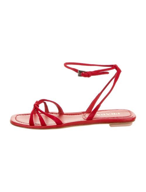 Prada Suede Gladiator Sandals Red