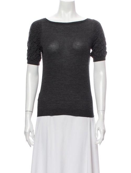 Prada Bateau Neckline Short Sleeve T-Shirt Grey