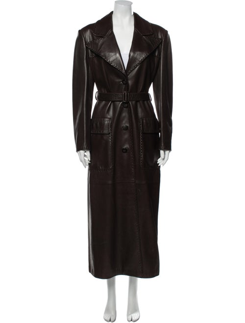 Prada Leather Trench Coat Brown