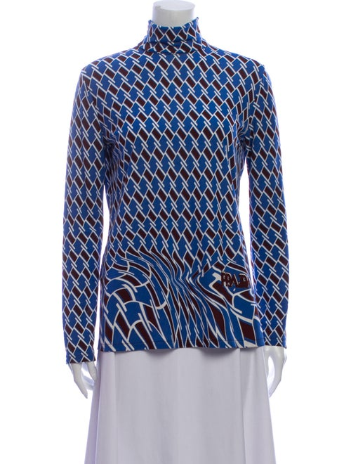 Prada Printed Mock Neck Blouse Blue