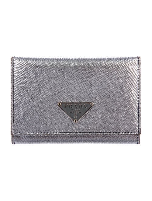 Prada Metallic Saffiano Cardholder Metallic