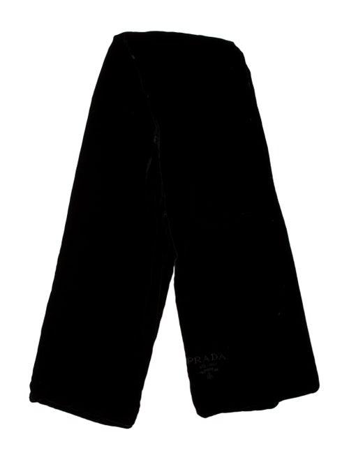 Prada Velvet Embroidered Scarf Black
