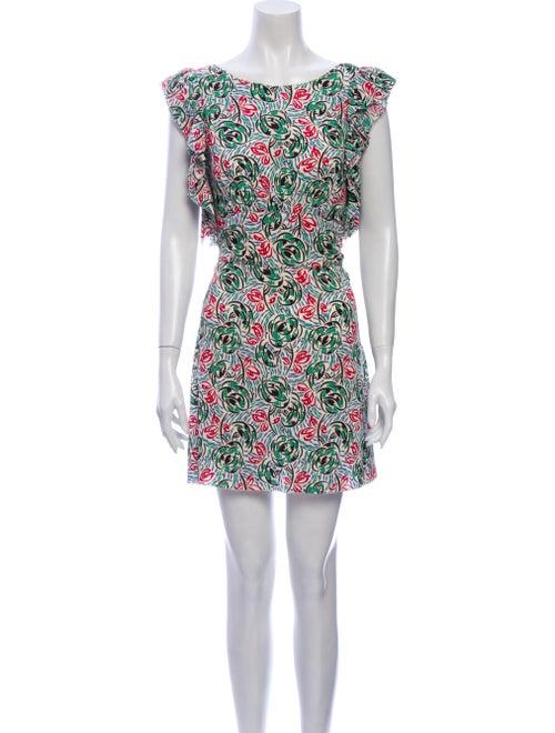 Prada Printed Mini Dress Green