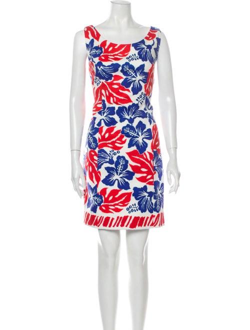 Prada Floral Print Mini Dress White