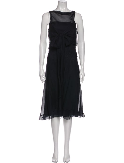 Prada Silk Midi Length Dress Blue
