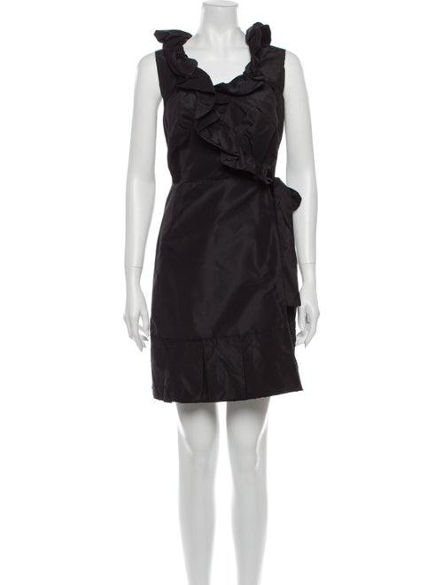 Prada Scoop Neck Mini Dress Black