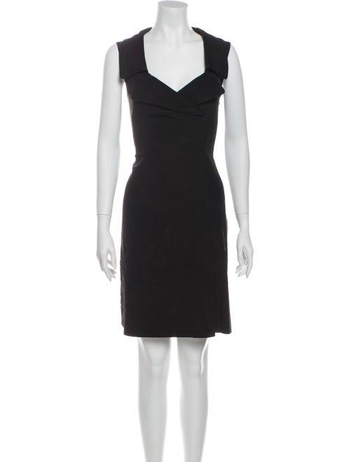 Prada V-Neck Mini Dress Black