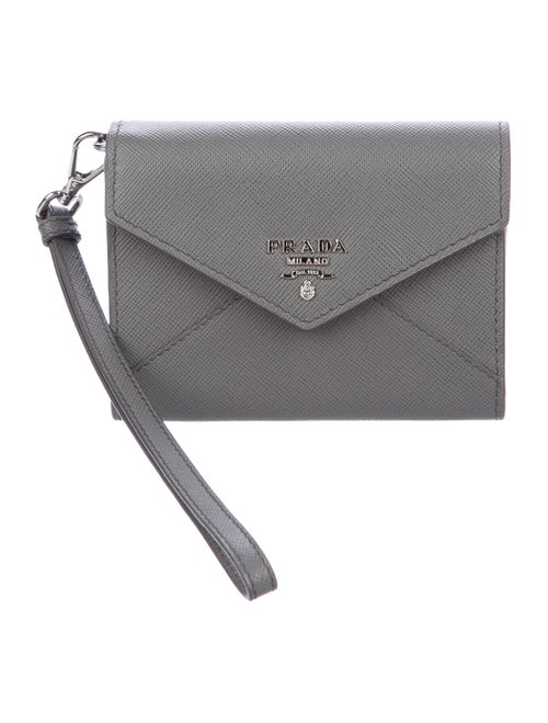 Prada Saffiano Wristlet Card Holder Grey