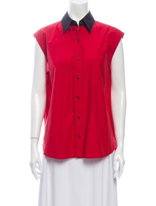 Prada Sleeveless Button-Up Top Red