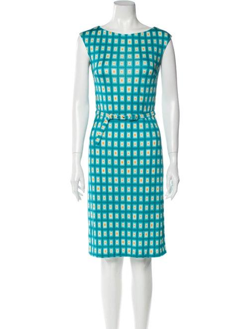 Prada Printed Knee-Length Dress Blue