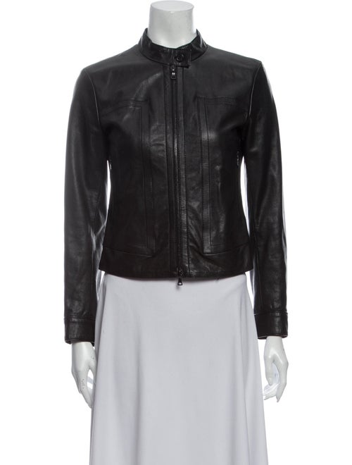 Prada Leather Biker Jacket Black