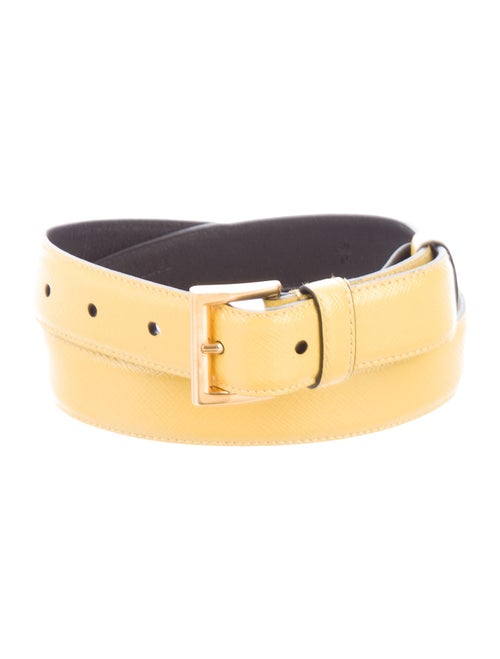 Prada Leather Buckle Belt Yellow