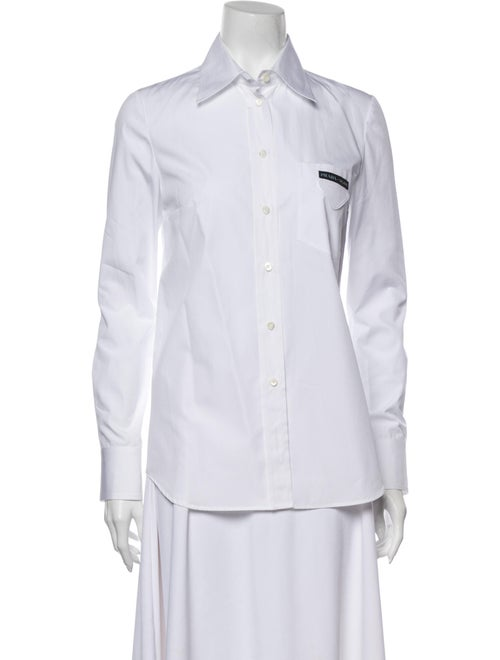 Prada Long Sleeve Button-Up Top White