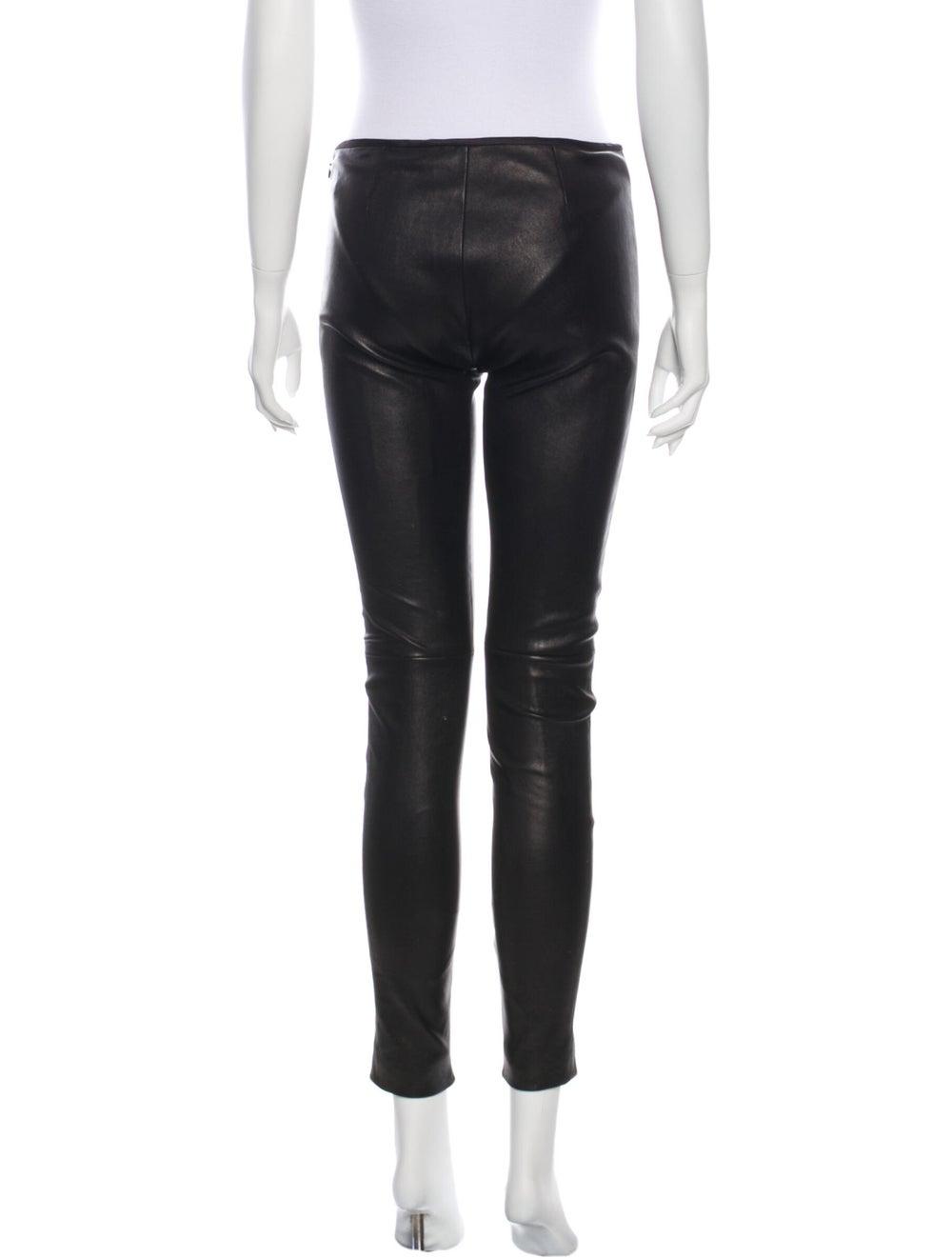Prada Leather Skinny Leg Pants Black - image 3