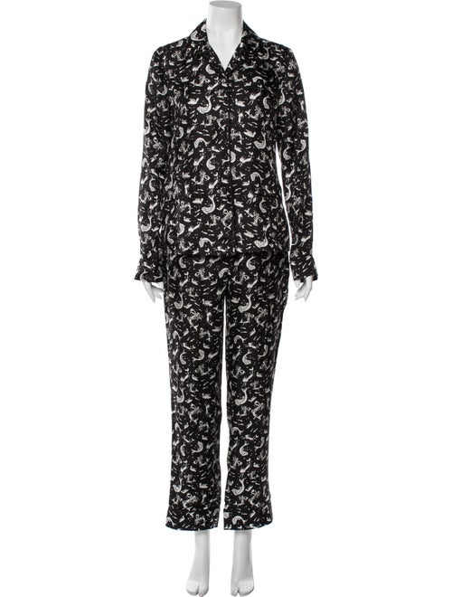 Prada Silk Printed Pajamas Black