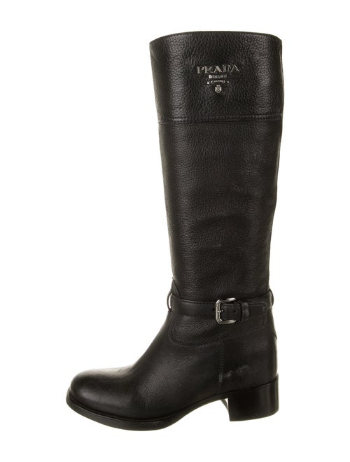 Prada Leather Riding Boots Black