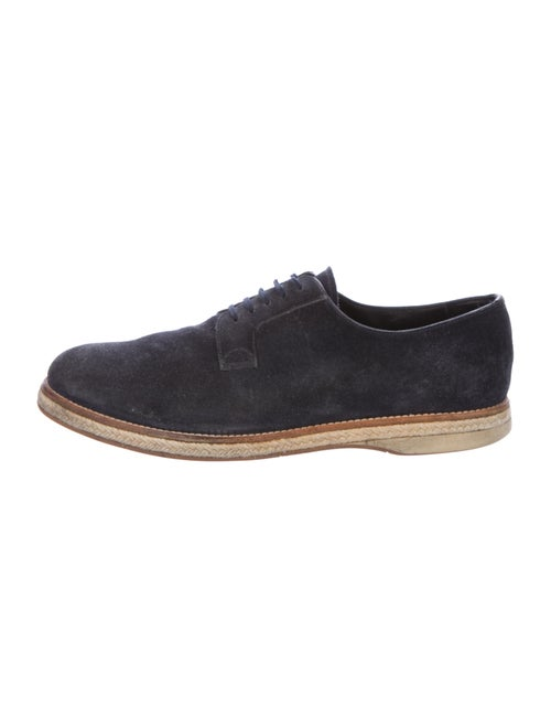 Prada Suede Braided Accents Derby Shoes Blue