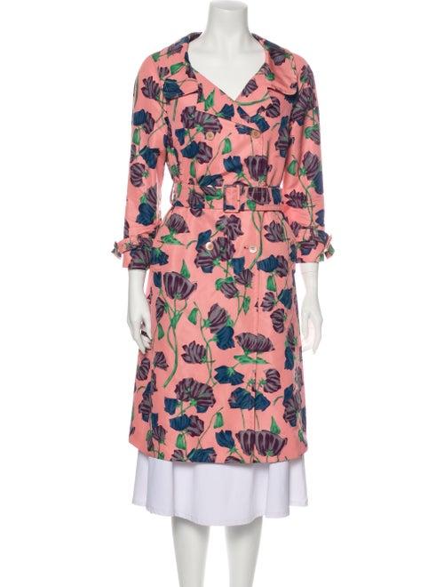 Prada Silk Floral Print Trench Coat Pink