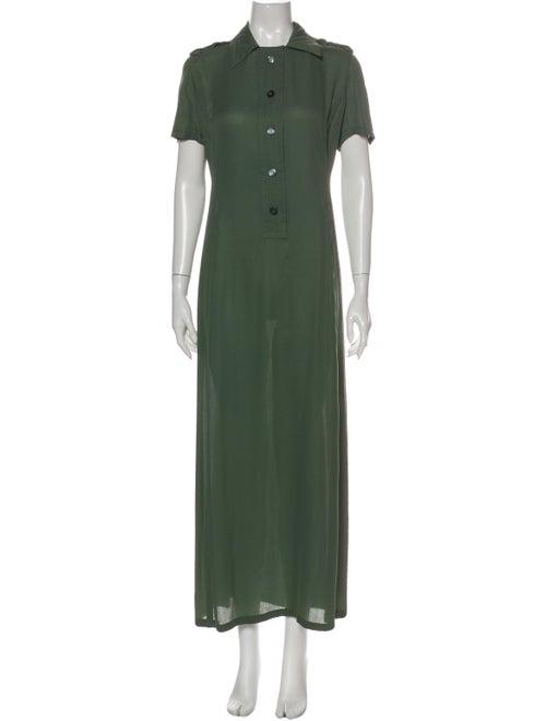 Prada Silk Long Dress Green