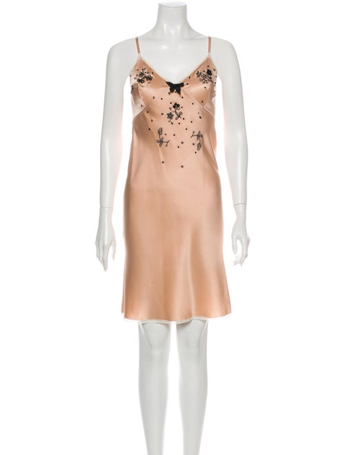 Prada Silk Bow Accents Nightgown Pink