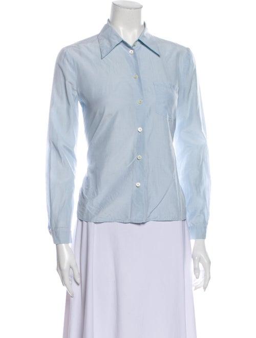 Prada Long Sleeve Button-Up Top Blue