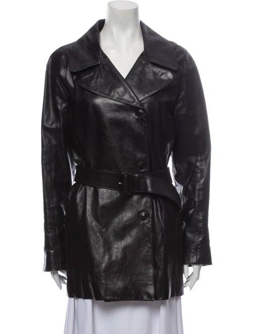 Prada Leather Trench Coat Black
