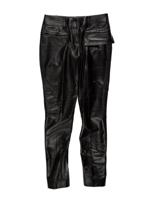 Prada Leather Skinny Leg Pants Black - image 1