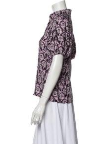 Prada Floral Print Short Sleeve Button-Up Top