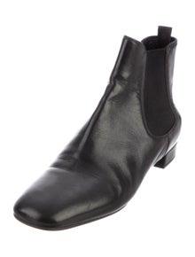 Prada Leather Grosgrain Trim Chelsea Boots
