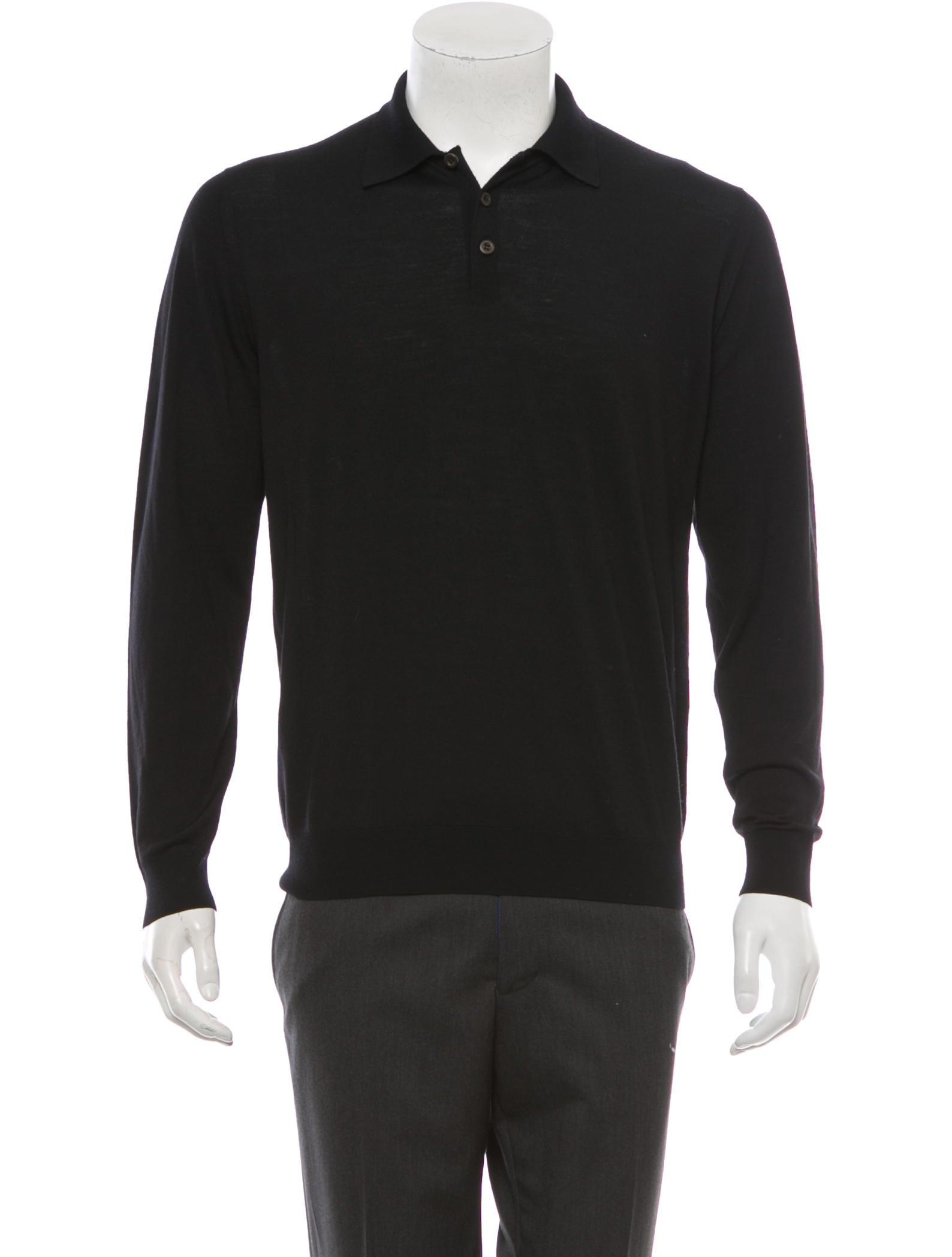 Prada wool long sleeve polo shirt clothing pra49182 for Long sleeve wool polo shirts