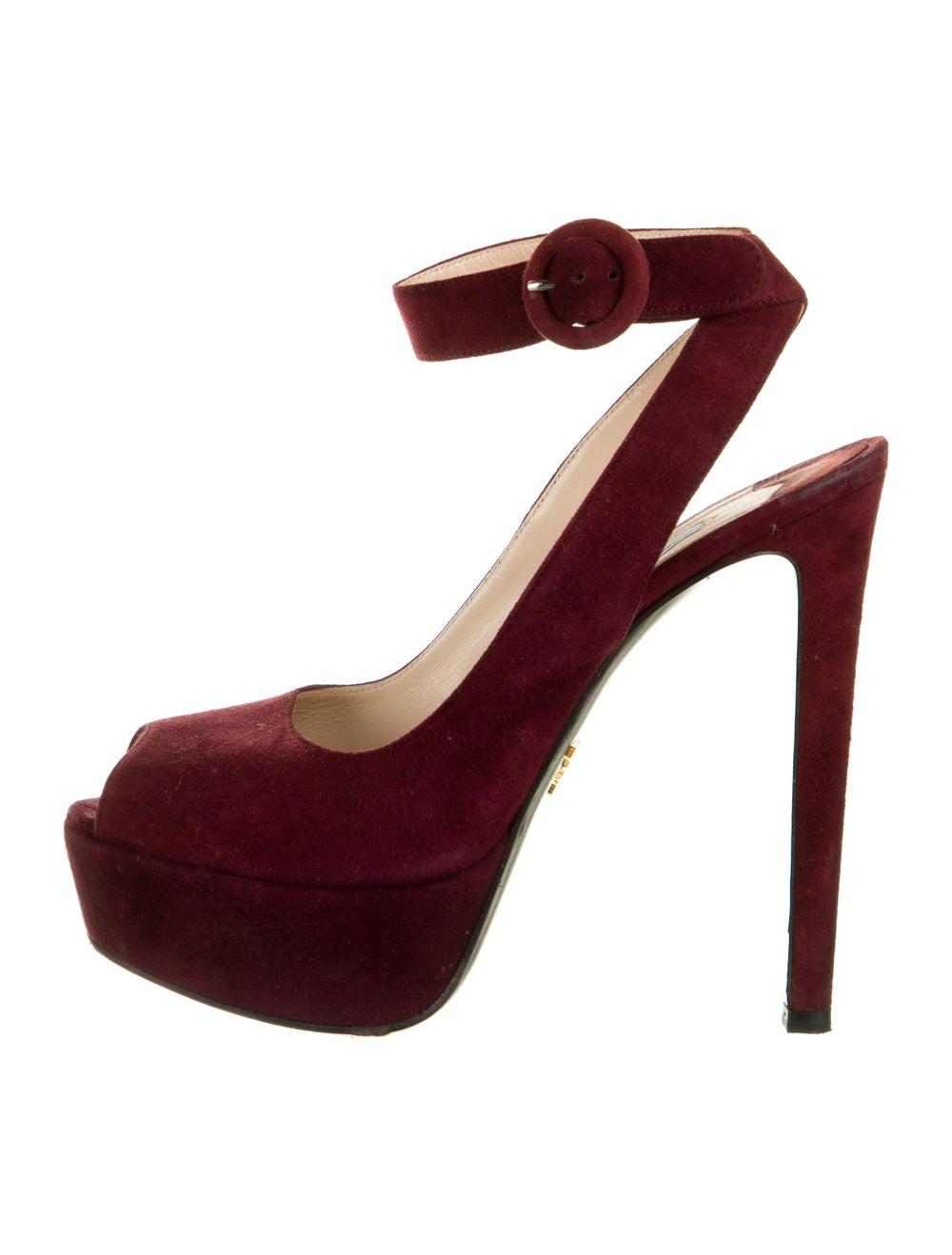 Prada Suede Sandals Red - image 1