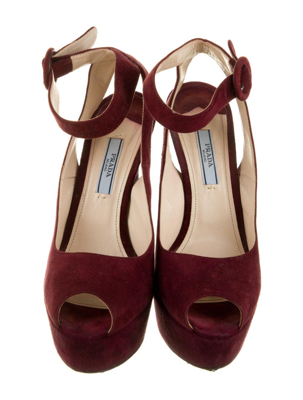 Prada Suede Sandals Red - image 3