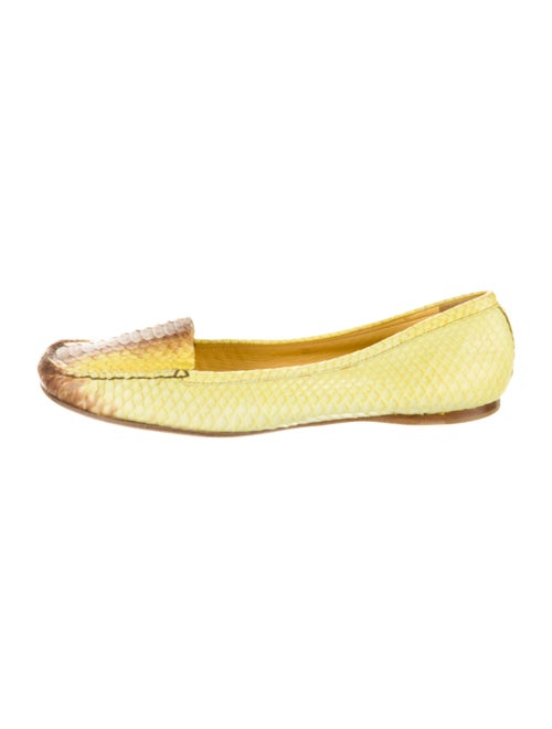 Prada Snakeskin Animal Print Ballet Flats Yellow
