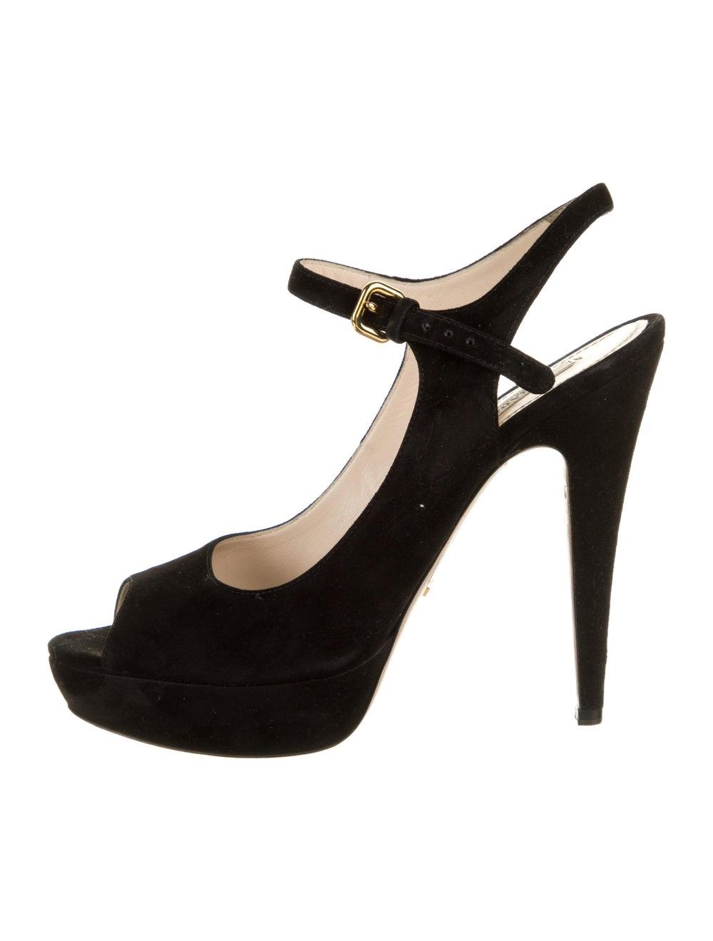 Prada Suede Sandals Black - image 1